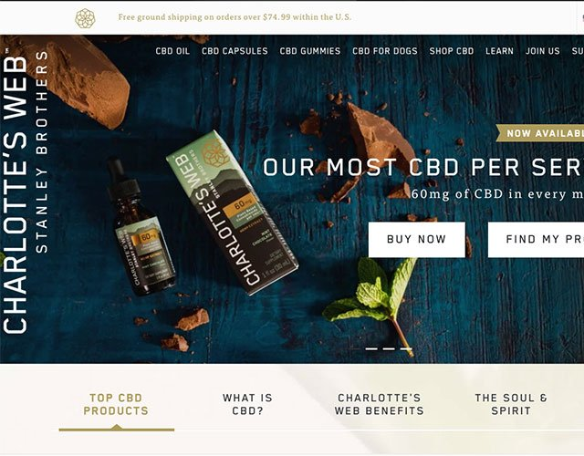Charlotte's Web CBD review: homepage.