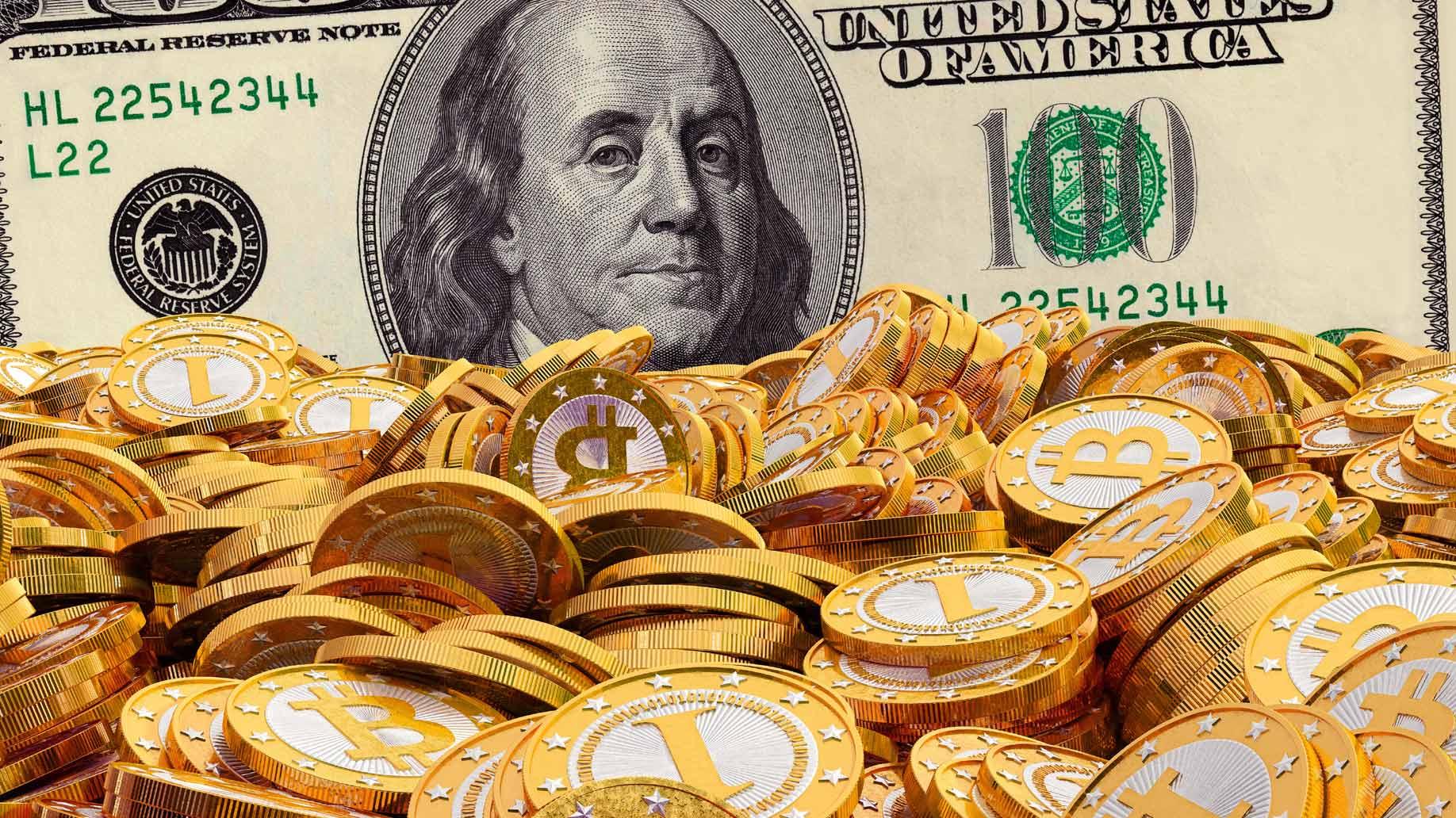 Bitcoins und Dollar-Umwandlung