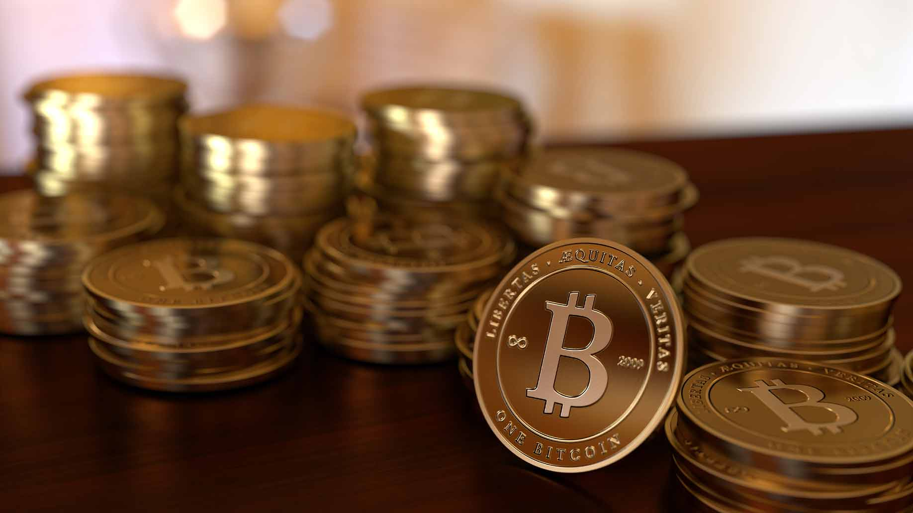 Stapel von Bitcoins